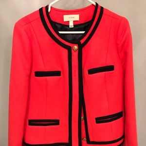J crew lady blazer with trim.  Coral color